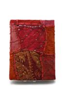 Notitieboek / gastenboek / dagboek 20 x 16 cm ,gerecycled sareestof uit India 100 blz , handgeschept blanco papier