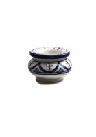Mini asbak H 7 cm Ø 10 cm blauw / wit